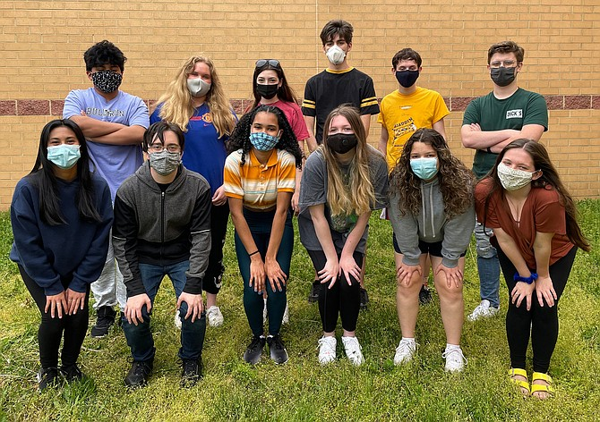 (Front row, from left) are Westfield thespians Chloe Jornales, Adam Mahoney, Kayla Gadley, Kaitlyn Long, Micaela Luster and Elli Vlattas. (Back row, from left) are Alejandro Cahoon, Anna Moritz, Alison Brown, Brian Purtell, TJ Craypoff and Matthew Krelovich.