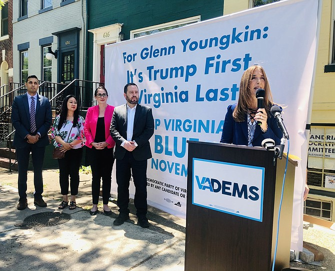"""House Speaker Eileen Filler-Corn appears in Old Town Alexandria during a Northern Virginia stop on the """"Where Trump Leads, Glenn Follows"""" Tour."""