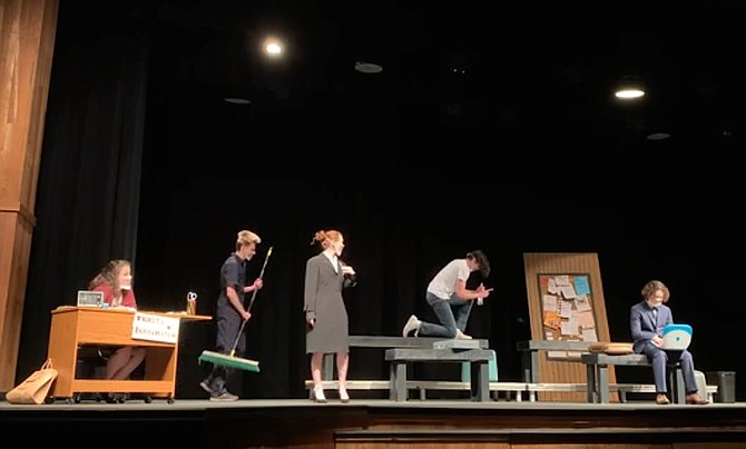 From left: Stella Monner, William Bush, Elenora Fiel, Benjamin Eggleston and  Ashton Rauch in Madison High's production of 'Waiting on Trains.'