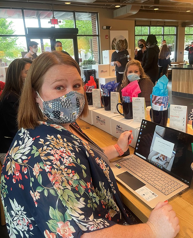 Samantha Knepper, Navy military wife, gathers May 7 at the Starbucks Military Family Store in Arlington for Military Spouses Appreciation Day.