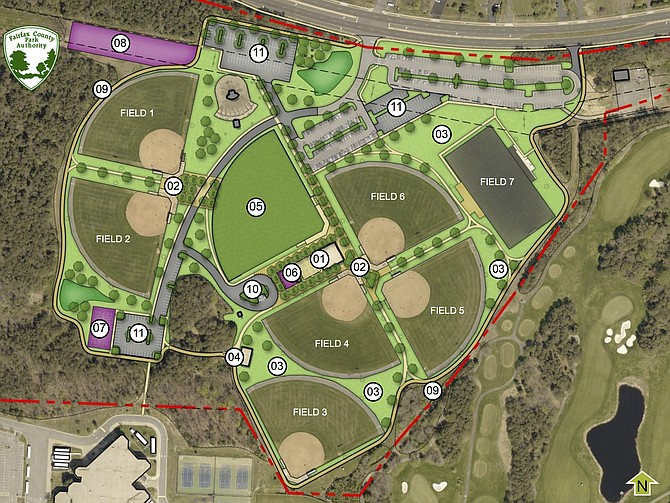 Proposed Master Plan Key: 1. Restrooms, concessions, dining pavilion; 2. Social plaza; 3. Open space; 4. Party pavilion; 5. New softball diamond; 6. Playground/game area; 7. Pickleball courts; 8. Dog park OR community garden plots; 9. One-mile trail loop; 10. Vehicle drop-off area; 11. New parking.