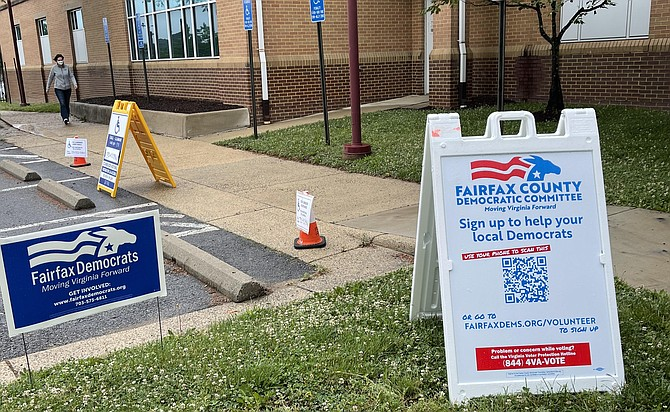 Only Democrat Party signage is on display at voting centers for the single party Primary scheduled June 8.