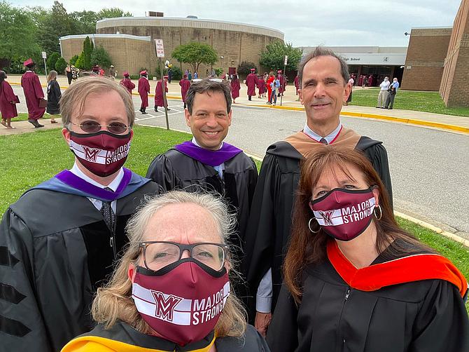 At Mount Vernon High School class of 2021 graduation: Del. Paul Krizek, Sen. Scott Surovell, Supervisor Dan Storck, School Board members Karen Corbett Sanders and Tamara Derenak Kaufax.