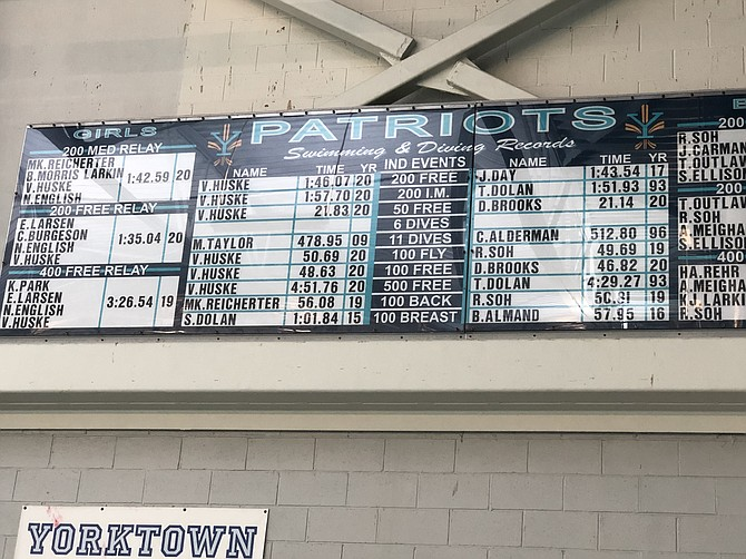 The Records board at Arlington's Yorktown High pool reflect Huske's record breaking swims over her four years at Yorktown. She had to miss graduation on June 18th because of Team USA training.