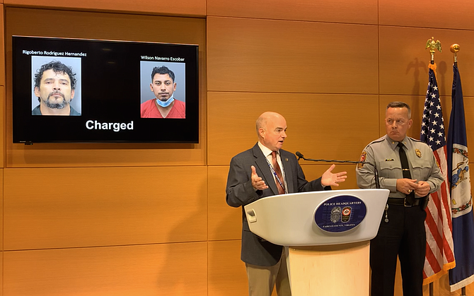 (From left) During a press conference held July 1, Major Ed O'Carroll, Commander of the Major Crimes and Cyber and Forensics Bureaus and Fairfax County Chief of Police Kevin Davis update the community on charges filed against suspects in the murder of Brian Constanza-Campos.