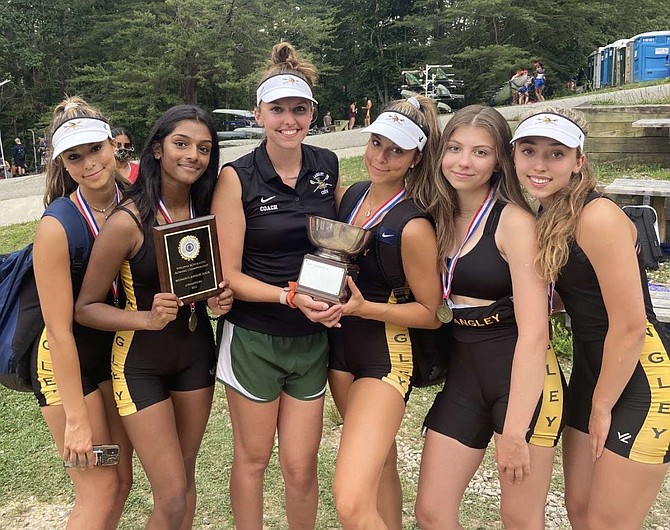 Gold Medal Boat - Langley Crew Women's Junior 4, 1st in State Final: (From left) Ella Fedewa, Moushica Rangareddy, Coach Lauren Evans, Anjali Fedewa, Suzanne Monteleone, and Hannah Smouse.