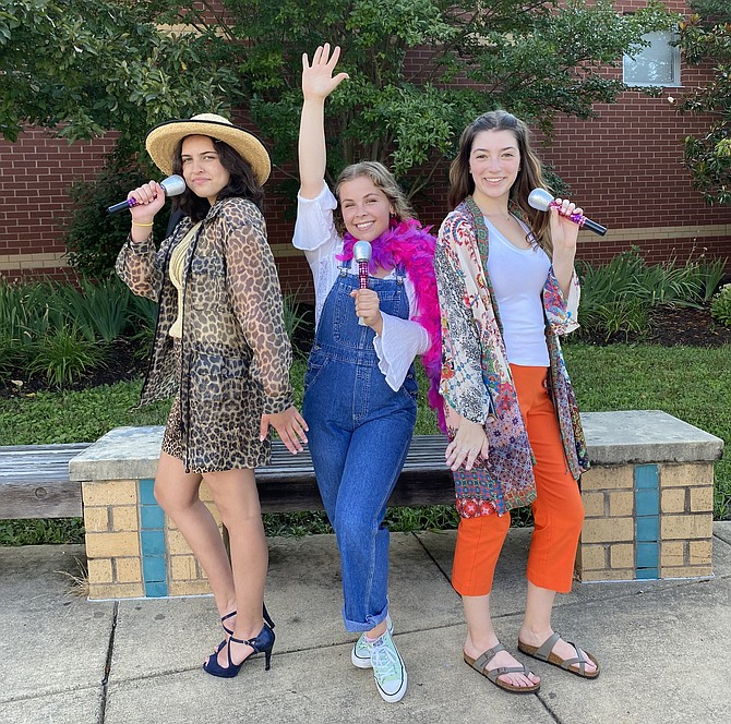Tanya, Donna and Rosie form the girl band 'Donna and the Dynamos' and perform in 'Mamma Mia!' at Westfield High. From left: Isabella McDonald, 15, a Haymarket resident and rising sophomore at Colgan High School, then Lili Williams, 18, a Leesburg resident and graduate of Heritage High School, and Alison Brown, 18, a recent graduate of Westfield High School.
