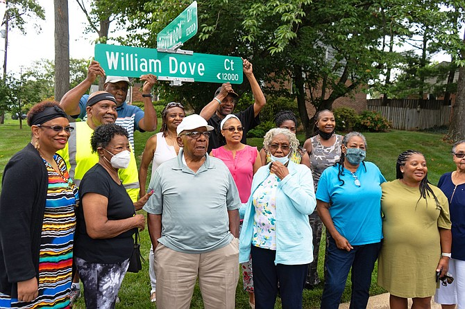 The Potomac street formerly known as Jubal Early Court is now William Dove Court. Scotland residents and Dove ancestors were on hand for the renaming.
