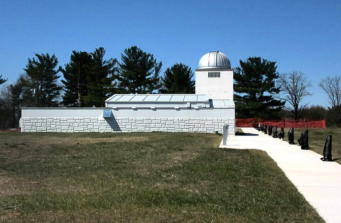 """""""The observatory has an Orientation Room used for educational programs. An Observation Room includes three telescopes with room for a fourth as private funding becomes available. The observatory features a retractable roof that rolls over the top of a fixed roof that covers the Orientation Room,"""" according to the website."""