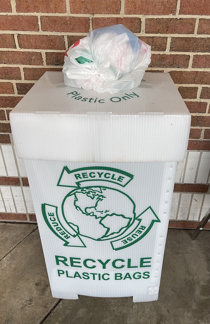 Many Arlington grocery stores collect plastic bags for recycling; they aren't accepted by Arlington's curbside pickup program.