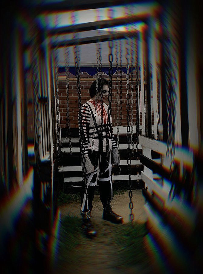 """David Blanco in character for Workhouse Arts Center outdoor immersive """"Haunt: The Collection."""" Weekend nights Oct. 3 to Nov. 6, 2021."""
