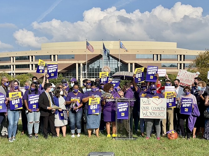Rallying for Collective Bargaining in front of the Fairfax County Government Center.