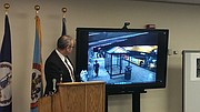 David Smith, commander of Fairfax County Police Department major crimes division, breaks down the security camera footage of the shooting of Yovani Amaya Gomez outside Inova Fairfax Hospital in August.