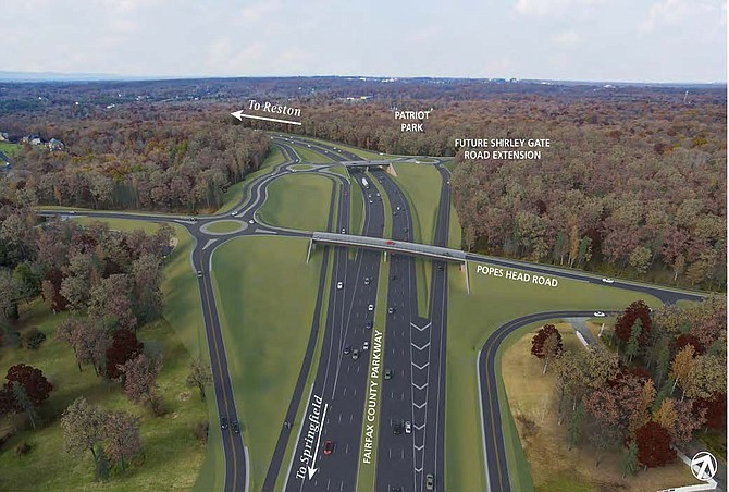 An artist rendering of what the new interchange at Popes Head Road may look like.